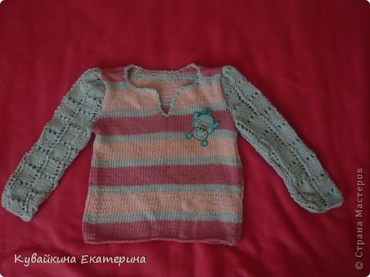 Мои работы по вязанию спицами, это только начальный этап, так что не судите строго))) Первая вязанная кофточка для моей дочурки Анны фото 3