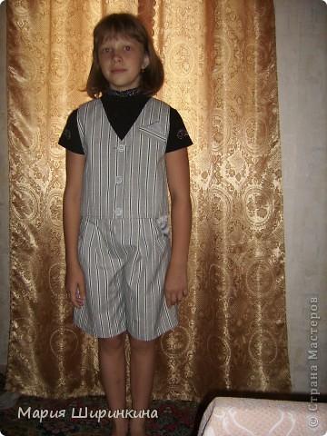 Еще костюм - юбка-брюки и жилет - племяннице к школе. В качестве подклада, на спинке жилета и у карманов юбки блузочный блестящий шелк. фото 3
