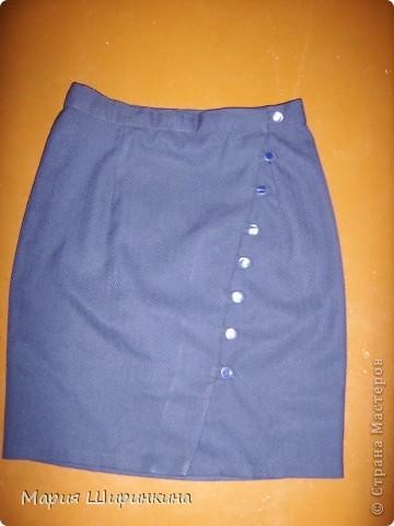 Прямая юбка с запАхом и пуговками.  Сшила к началу учебного года племяннице. фото 1