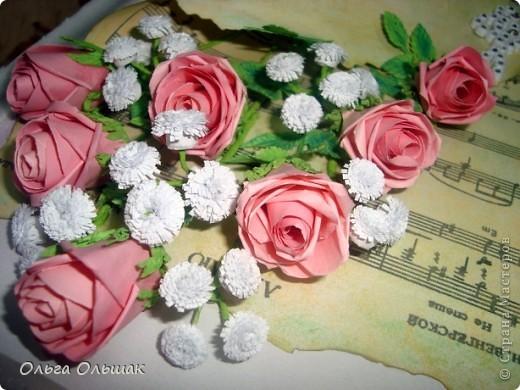 Выросли у меня теперь и розовые розы, конечно  по МК Астории http://asti-n.ya.ru/posts.xml?tag=2023576 Сделала на этот раз из 3 заготовок,получились бутончики,не сильно распустившиеся. фото 1