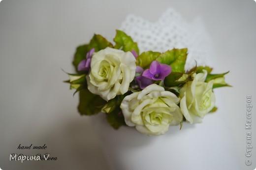 Букет с розами и гортензией для невесты, которая очень любит сиреневый цвет фото 5