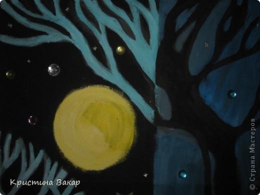 """Маляванка – это народная белорусская декоративная роспись по ткани. Вот такие картины я """"намалявала"""" в школе на занятиях по композиции...  Тихая ночь... фото 2"""