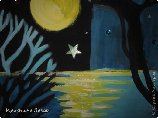"""Маляванка – это народная белорусская декоративная роспись по ткани. Вот такие картины я """"намалявала"""" в школе на занятиях по композиции...  Тихая ночь... фото 3"""
