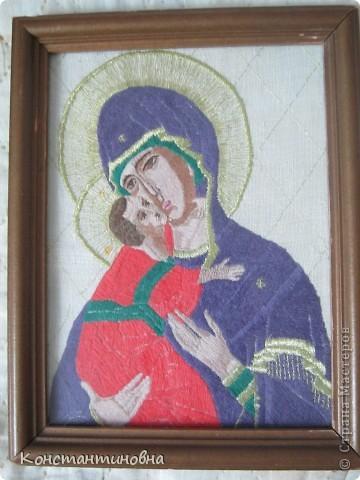 вышивка гладь Владимирская икона Божией Матери  фото 1