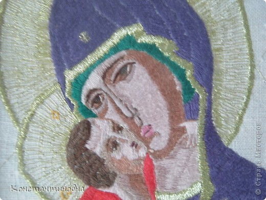 вышивка гладь Владимирская икона Божией Матери  фото 2