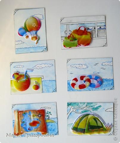 Путешествие к морю и поход с палатками вдохновил на создание серии карточек. Материал - обьемная наклейка на моем рисунке разведенной гуашью и тушью пером. фото 1