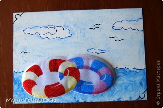 Путешествие к морю и поход с палатками вдохновил на создание серии карточек. Материал - обьемная наклейка на моем рисунке разведенной гуашью и тушью пером. фото 5