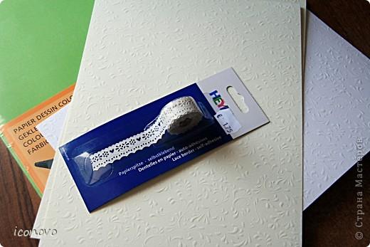 Бумагу разных цветов, заготовки для открыток зелёненькие и перламутровые, фигурные ножницы, и дырокол для края-всё купила в Финляндии. Там, мне показалось, это стоит значительно дешевле. Дырокол, например обошёлся в 320рублей. фото 2