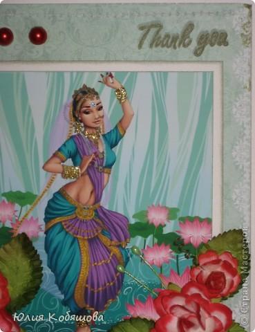Здравствуйте! Я уже показывала вам свою открыточку с японкой http://stranamasterov.ru/node/394734, а на днях у меня родилась еще открытка с индианкой. Надеюсь она вам понравится не меньше. Украсила ее покупными цветочками и листочками, полубусинами, штампиком. фото 3