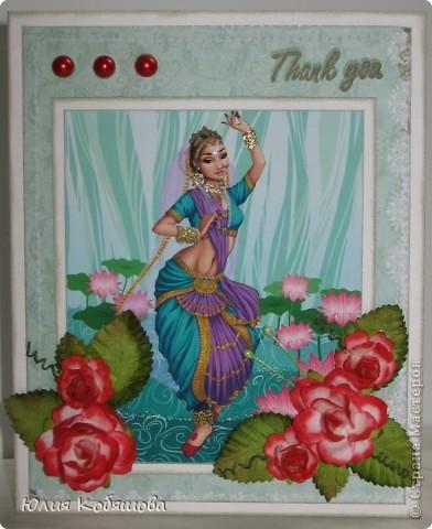 Здравствуйте! Я уже показывала вам свою открыточку с японкой http://stranamasterov.ru/node/394734, а на днях у меня родилась еще открытка с индианкой. Надеюсь она вам понравится не меньше. Украсила ее покупными цветочками и листочками, полубусинами, штампиком. фото 1