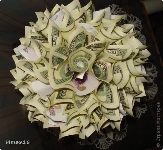 Здравствуйте жители СМ! Скоро у очень хорошего человека день рождение. Решила сделать денежное дерево счастья. Спасибо мастерицам страны за МК: МОТЮЛЬ http://stranamasterov.ru/node/393677?c=favorite, и другим. Горшочк выкрасила золотой краской. фото 2