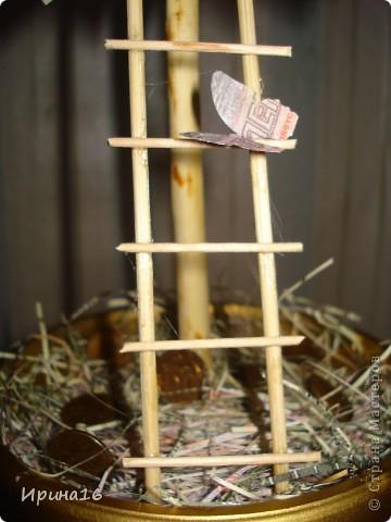 Здравствуйте жители СМ! Скоро у очень хорошего человека день рождение. Решила сделать денежное дерево счастья. Спасибо мастерицам страны за МК: МОТЮЛЬ http://stranamasterov.ru/node/393677?c=favorite, и другим. Горшочк выкрасила золотой краской. фото 3