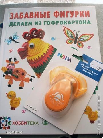 Бумагу разных цветов, заготовки для открыток зелёненькие и перламутровые, фигурные ножницы, и дырокол для края-всё купила в Финляндии. Там, мне показалось, это стоит значительно дешевле. Дырокол, например обошёлся в 320рублей. фото 3