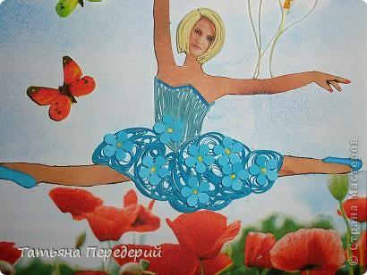"""Здравствуйте, дорогие жители СМ! Кто из нас (хотя бы во сне) не мечтал полетать, посмотреть свысока на земную красоту, ощутить себя лёгким, невесомым и """"крылатым""""? Именно с этими мыслями я  и создавала своих танцовщиц))) Этой работой заканчиваю серию летних красоток, а в планах уже зреют осенние. Низ картины, бабочки и шарики - декупаж. Фон неба сделан по МК Виты http://stranamasterov.ru/node/394356 ) фото 5"""