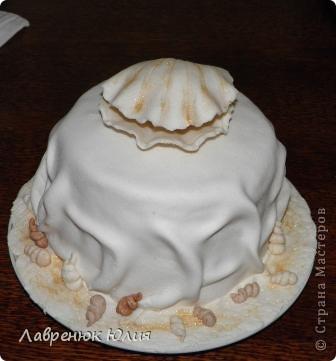 Всем добрый день. У меня сегодня двойной праздник. Во-первых мне сегодня 25, а во-вторых сегодня ровно полгода как я сделала свой первый мастичный торт. Поэтому случаю новый тортик. Идею этого тортика я подсмотрела в одной мастерицы, правда у нее он был на 30 годовщину свадьбы,  с жемчужиной и 2-ярусный. Я долго мечтала такой сделать и вот свершилось))) фото 3