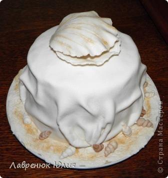 Всем добрый день. У меня сегодня двойной праздник. Во-первых мне сегодня 25, а во-вторых сегодня ровно полгода как я сделала свой первый мастичный торт. Поэтому случаю новый тортик. Идею этого тортика я подсмотрела в одной мастерицы, правда у нее он был на 30 годовщину свадьбы,  с жемчужиной и 2-ярусный. Я долго мечтала такой сделать и вот свершилось))) фото 4