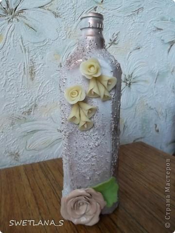 Украшение бутылок холодным фарфором фото 5