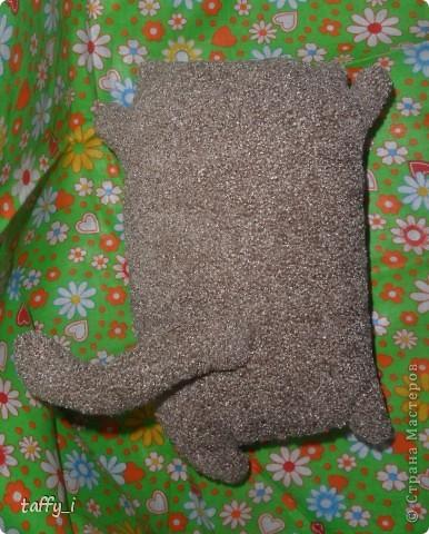 Котик-подушечка. Сшила его для папы. Только котейка получился совсем маленьким. :) Внутри, как всегда, сердечко вложено. :) фото 3