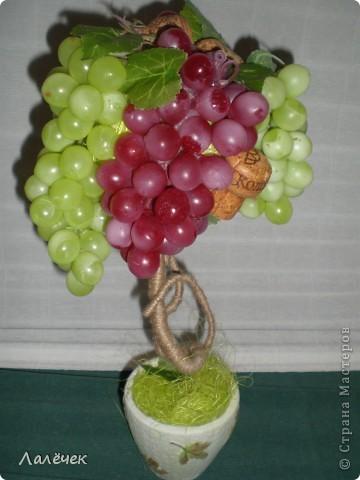 Скопилось у меня пробок немного, на панно не хватит, а вот на виноградный топиарчик в самый раз. Сказано - сделано, теперь вот хвастаюсь... фото 2