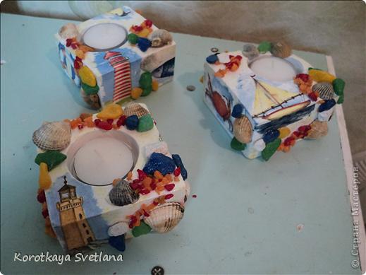 Продолжаю готовиться к выставке. Это гипсовые подсвечники в морском стиле. фото 8