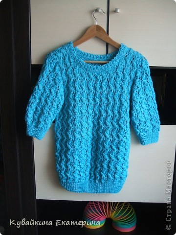 Связала новый свитерок для себя, рукав 3/4))) Нитки 100% акрил, спицы 3.5 фото 1