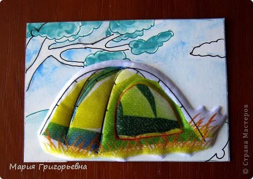Путешествие к морю и поход с палатками вдохновил на создание серии карточек. Материал - обьемная наклейка на моем рисунке разведенной гуашью и тушью пером. фото 7