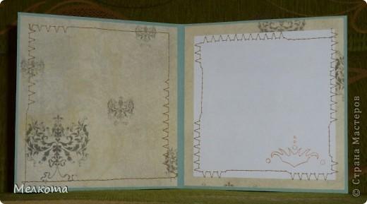 Хотела сделать винтажную открытку. Но хотеть - это одно, а сделать - другое. Вот, что вышло. По верхнему и левому краю тонкое кружево. На фото его почти не видно, а в жизни очень выразительно. И еще мне показалась удачной идея менять строчку при шитье. фото 3