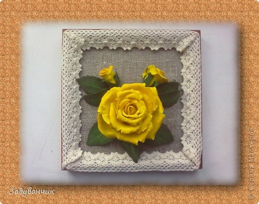 Панно, роза из самоотвердевающей глины фото 1