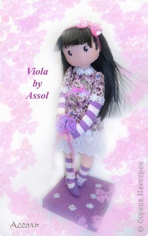 Ура! Очередная сумасбродная идея воплотилась в жизнь! Хочу представить Вам юную милую девчушку, которую я назвала Виола (сокращенно от Виолетта). Думаю, не надо объяснять почему я дала этой крохе именно такое имя))) фото 2