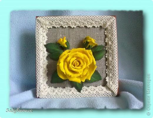 Панно, роза из самоотвердевающей глины фото 3