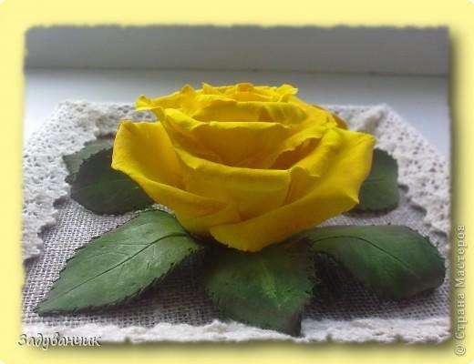 Панно, роза из самоотвердевающей глины фото 4