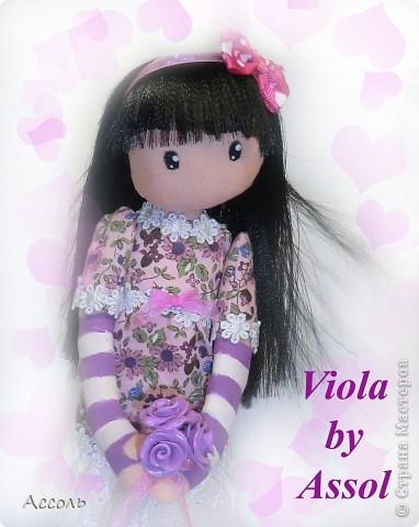 Ура! Очередная сумасбродная идея воплотилась в жизнь! Хочу представить Вам юную милую девчушку, которую я назвала Виола (сокращенно от Виолетта). Думаю, не надо объяснять почему я дала этой крохе именно такое имя))) фото 1