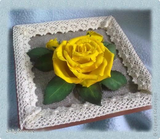 Панно, роза из самоотвердевающей глины фото 5