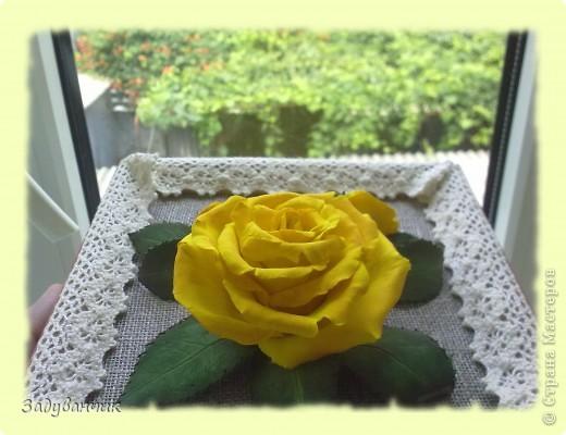 Панно, роза из самоотвердевающей глины фото 6