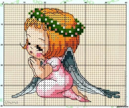 Ангелочек + схема вышивки