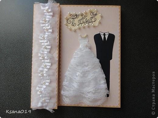 В июле гуляла на свадьбе племянницы,долго не могла определиться какую же открыточку мне сделать)) И вот что вышло)) Идею подглядела на сайте)) фото 1