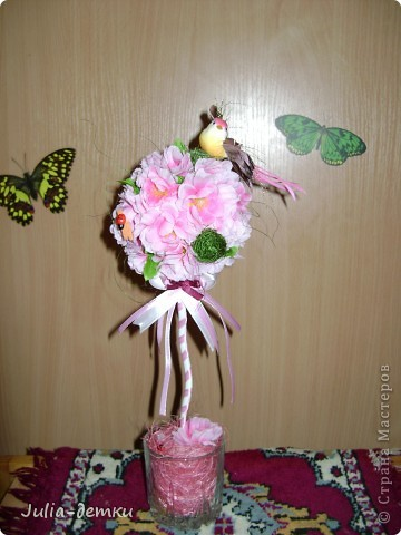 Опять Сакура с птичкой. Вот такое розовое настроение, было сделано на заказ, еще в июне.  31 см.