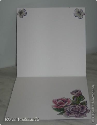 Я просто помешалась на картинках Линмиды Лии, ну не могу пройти мимо ее великолепных рисунков и не оформить открыточку (наверное, пора лечиться). Но тем не менее, представляю вашему вниманию еще одну мою работу. Открыточка родилась за вчерашний вечер, украшена покупными цветочками и листочками, дырокольными веточками, бумажной салфеточкой, бабочкой МС, полубусинами, стразами, картинка приклеена на объемный скотч. фото 5