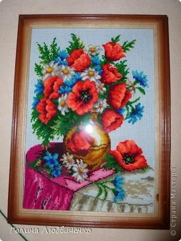 Всем добрый день! Представляю вам свои вышитые картины.  1.Букет полевых цветов. Картина вышита крестиком. фото 1