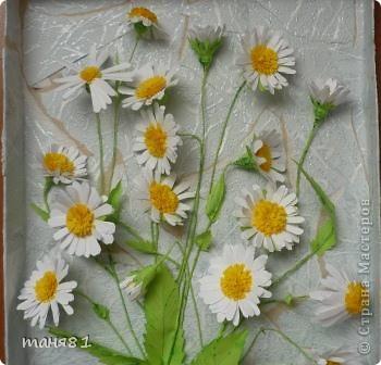 Вот такие у меня расцвели ромашки. Картину делала еще в начале лета, в подарок. Спасибо всем мастерицам у которых я подглядывала как ромашечки делать. фото 1