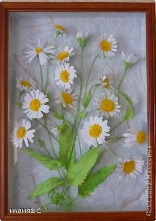 Вот такие у меня расцвели ромашки. Картину делала еще в начале лета, в подарок. Спасибо всем мастерицам у которых я подглядывала как ромашечки делать. фото 5