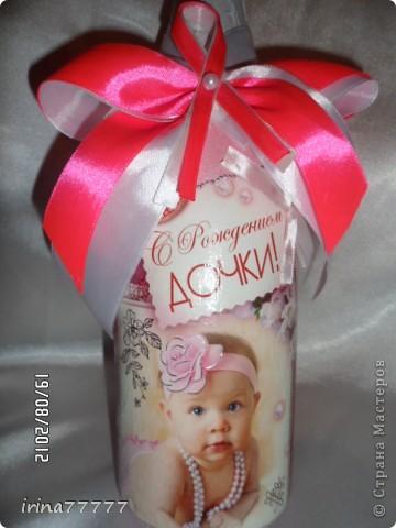 Еще одна бутылочка на рождение девочки(по заказу родственницы). Использовала истонченную открытку для декупажа. фото 1