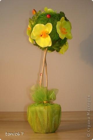 Вот такое вот деревце.   Использовала кокосовое волокно, цветы и листочки  искусств. фото 3