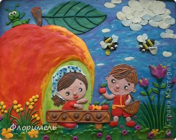 """Вот и """"созрела"""" новая картина из пластилина, с которой я хочу поучаствовать на """"Яблочном конкурсе"""" в СМ http://stranamasterov.ru/node/393249. фото 1"""