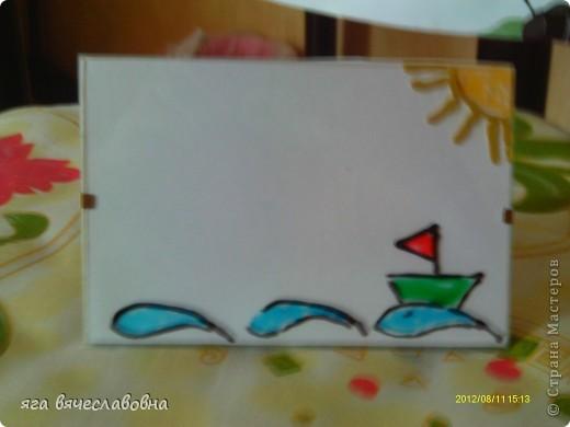 крашеный кораблик -витражные краски фото 1
