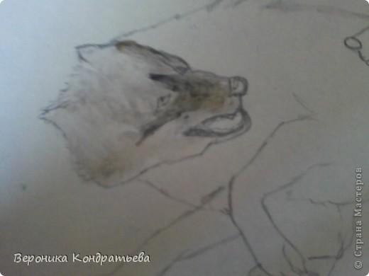 Попробуем нарисовать вот таких волков гуашью?  У меня это первый эксперимент, не судите строго...) В этой картине я немного поиграю с положением хвостов, ну и немного лап.) фото 10