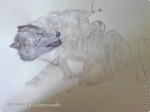 Попробуем нарисовать вот таких волков гуашью?  У меня это первый эксперимент, не судите строго...) В этой картине я немного поиграю с положением хвостов, ну и немного лап.) фото 14