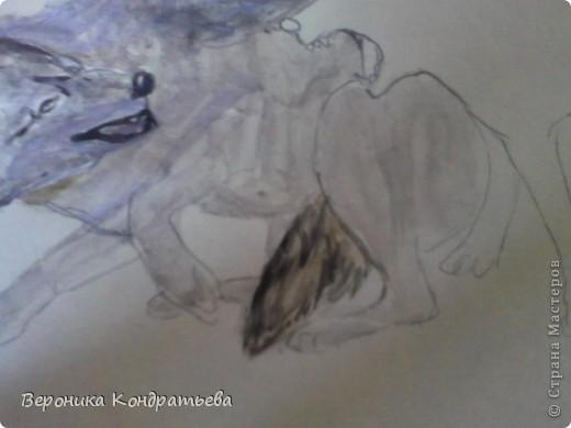 Попробуем нарисовать вот таких волков гуашью?  У меня это первый эксперимент, не судите строго...) В этой картине я немного поиграю с положением хвостов, ну и немного лап.) фото 17