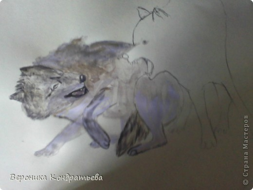 Попробуем нарисовать вот таких волков гуашью?  У меня это первый эксперимент, не судите строго...) В этой картине я немного поиграю с положением хвостов, ну и немного лап.) фото 19