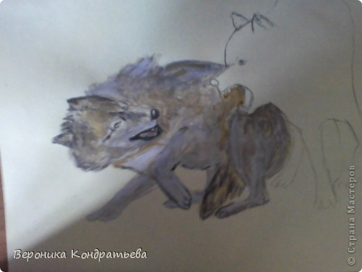 Попробуем нарисовать вот таких волков гуашью?  У меня это первый эксперимент, не судите строго...) В этой картине я немного поиграю с положением хвостов, ну и немного лап.) фото 21